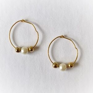 Gold Tones Wire Hoops with Faux Pearls